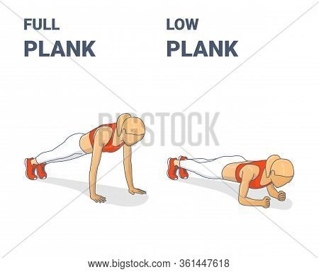 Full Plank And Elbow Plank Girl Workout Exercises Concept.