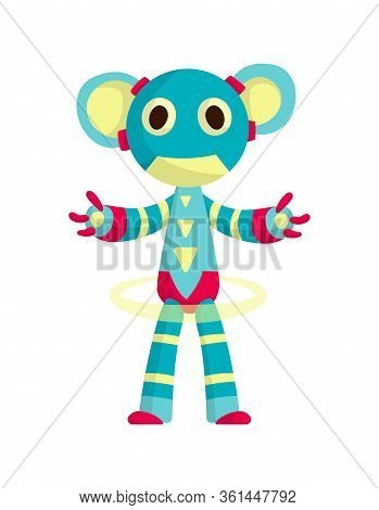 Funny Cartoon Robot. Cute Retro Robot. Robotic For Children. Friendly Android Robot Character With A