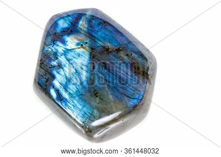Macro Mineral Stone Labradorite On White Background