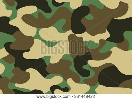 Camouflage Seamless Pattern. Abstract Military Or Hunting Camouflage Background. Classic Clothing St