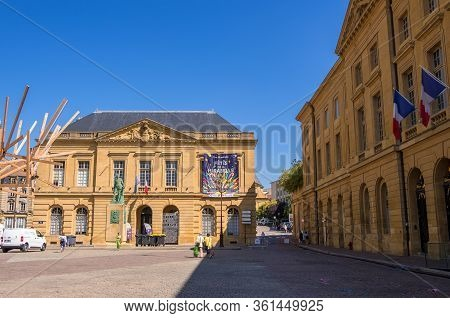 Metz, France - August 31, 2019: Statue Of The Marshal Fabert On The Armes Square Between Cathedral A