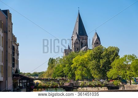 Metz, France - August 31, 2019: Protestant Church Temple Neuf In Metz, Lorraine, France