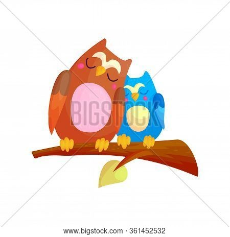Cute Cartoon Couple Of Owls Sleeping On Branch. Family And Love Character Concept Vector Illustratio