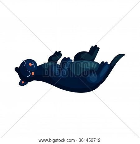 Cute Sleeping Panther. Baby Animal Relax Vector Illustration. Little Puma Character Design