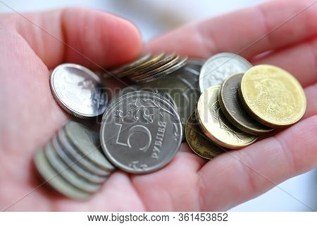 Scattered Russian Coins., 5 Rubles, 10 Rubles, 2 Rubles, Eagle