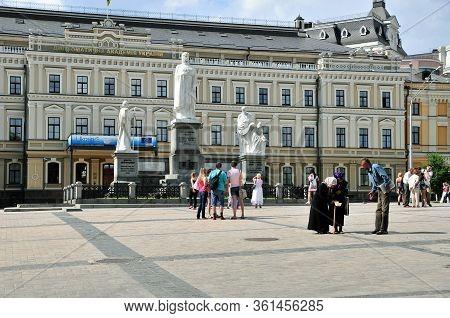 Kiev, Ukraine - June 11, 2011. Mikhailovskaya Square - A Square In The Shevchenkovsky District. Monu
