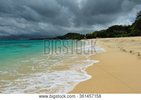 An Amazing Colours From Yellow To Turquoise Of The Beaches Of Virgin Gorda (british Virgin Islands)