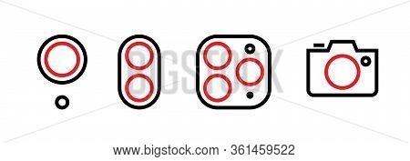 Set Of One, Dual, Three Lenses And A Camera Icons. Editable Line Vector.