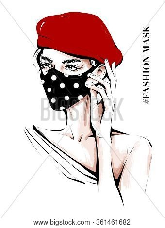 Hand Drawn Beautiful Young Woman In Ear Loop Face Mask. Stylish Girl In Red Cap. Woman Wearing Medic