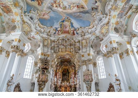 Feb 1, 2020 - Steingaden, Germany: Rococo Style Dome Fresquo With Tromp-loeil In Pilgrimage Church O