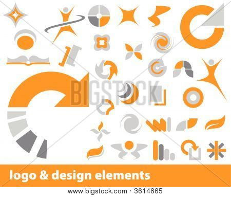 Abstract vector logo and design elements in orange and gray poster