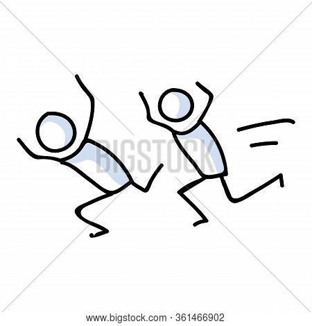Cute Stick Figures Running For Exercise Lineart Icon. Training Run For Fitness Pictogram. Communicat