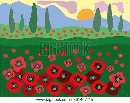 Red Landscape Poppy Field Mountain. Beautiful Poppy Field On A Background Of Mountains At Sunset, Gr