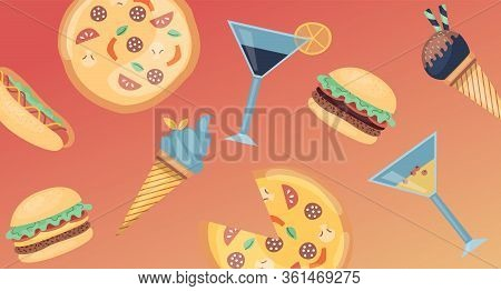 Concept Of Fast Food Menu. Set Of Fast Food Meal With Pizza, Hotdog, Classic Cheese Burger, Hamburge