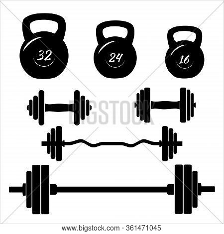 Dumbbells Sign Icons. Fitness Sport Symbols. Gym Workout Equipment. Barbell Icon. Flat Icons On Whit