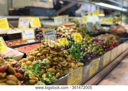 Melbourne, Australia - June 17, 2017: Food On Display At Deli Shop At Queen Victoria Markets In Melb