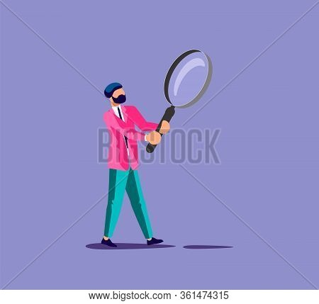 Man Carrying Big Magnifier. Search And Find, Discovery, Analyze, Inspect Or Investigation Metaphor.