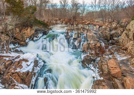 Winter View Of Great Falls Of The Potomac River. C&o Canal National Historical Park. Maryland. Usa.0