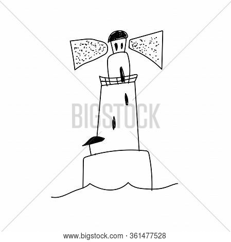 Ute Doodle Lighthouse.hand-drawn Vector Illustration. Element For Posters, Postcards, Stickers And S