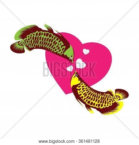 Arowana Fish Vector. Fish And Love. Vector Illustration On White Background