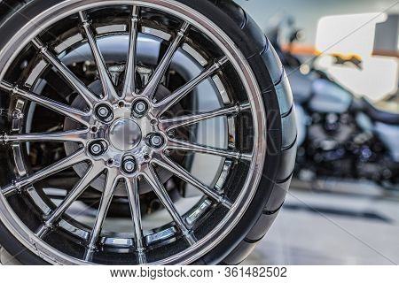 Rims From A Sports Car. The Concept Of Tuning The Wheels Of A Car. Car Wheel. Close Up Photo.