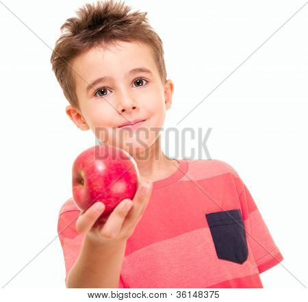 Little Naughty Boy Outstretch The Apple