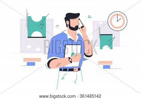 Businessman Talking On Mobile Phone And Discuss Working Moment Vector Illustration. Modern Technolog