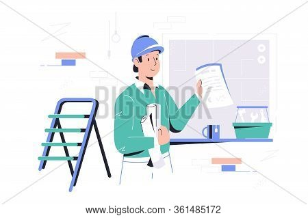 Foreman On Construction Site Vector Illustration. Craftsman Holding Renovation Plan And Box With Too