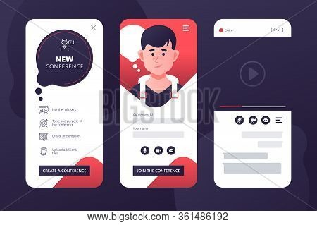 Business Conference Via Application Vector Illustration. Video Call And Discuss Working Moment Flat