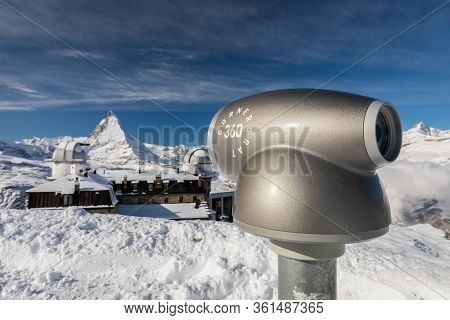 Gornergrat, Zermatt, Switzerland - November 12, 2019: Close Focus On Monocular Telescope For Distant