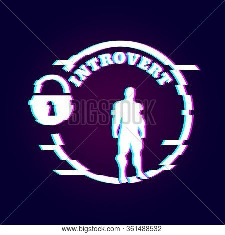 Introvert Simple Icon Metaphor. Image Relative To Human Psychology. Muscular Man In The Locked Circl