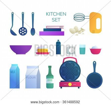 Kitchen Utensils And Food Ingredients Icons Set. Mixer, Bowl, Eggshell, Waffle Iron, Pan, Flour, Mil