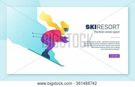 Ski Resort Web Banner In Flat Style. Winter Seasonal Recreation In Mountings. Skier In Sportswear An