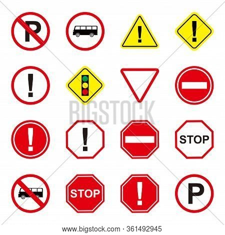 Collection Of Vector Traffic Signs And Symbols. Great For Use To Convey Traffic Related Messages. St