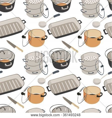 Kitchenware Saucepans With Lids, Frying Pan Seamless Pattern