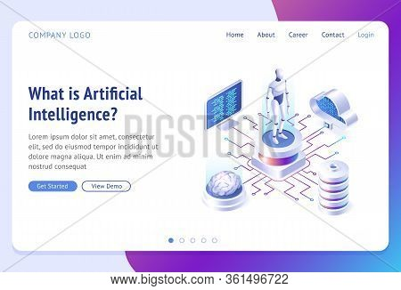 Ai, Artificial Intelligence Isometric Landing Page. Cyborg Surrounded With Human Brain, Laptop, Clou