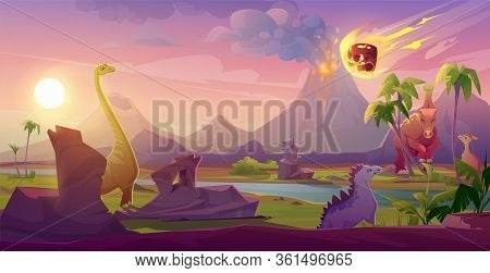 Dinosaurs Extinct With Meteorite Falling On Earth. Asteroid Explosion In End Of Jurassic, Cretaceous