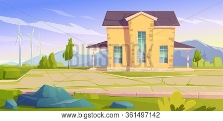 House And Wind Turbines. Eco Friendly Power Generation, Green Energy Concept. Vector Cartoon Landsca