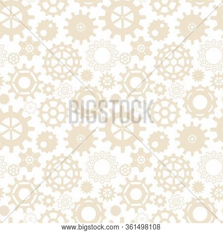 Seamless Steampunk Pattern With Gears . Background For A Poster, Greeting Card, Desktop. The Bright