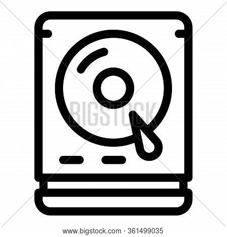 Hard Disk Icon. Outline Hard Disk Vector Icon For Web Design Isolated On White Background