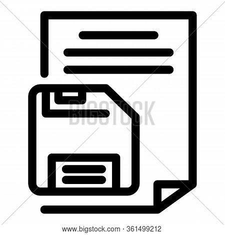 Floppy Disk Paper Icon. Outline Floppy Disk Paper Vector Icon For Web Design Isolated On White Backg