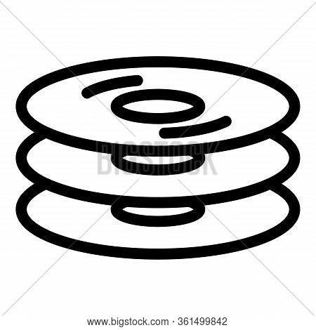 Cd Stack Icon. Outline Cd Stack Vector Icon For Web Design Isolated On White Background