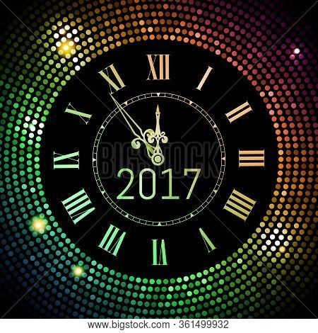New Year 2017 Celebration Background. Colored Circle Disco Pattern Background With Clock Number 2017