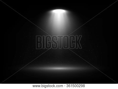 Vector Spotlight On Scene With Light Beams And Particles In The Air. Design For Presentation Your Pr