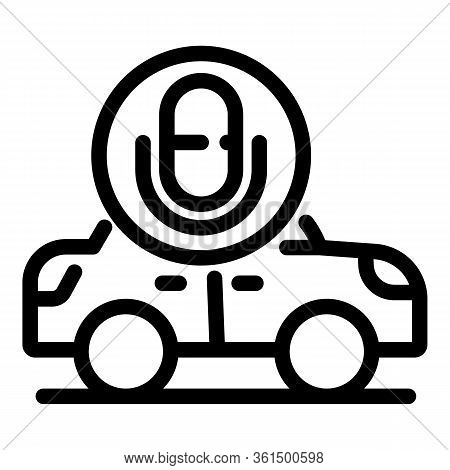 Voice Assistant Driverless Car Icon. Outline Voice Assistant Driverless Car Vector Icon For Web Desi