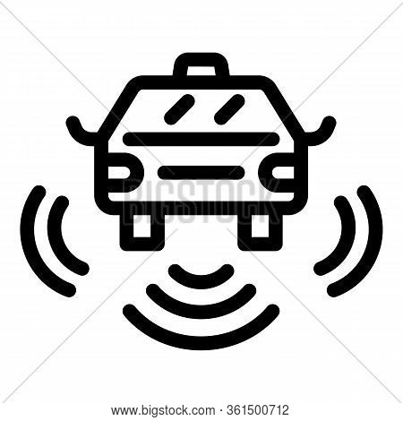 Driverless Car Taxi Icon. Outline Driverless Car Taxi Vector Icon For Web Design Isolated On White B