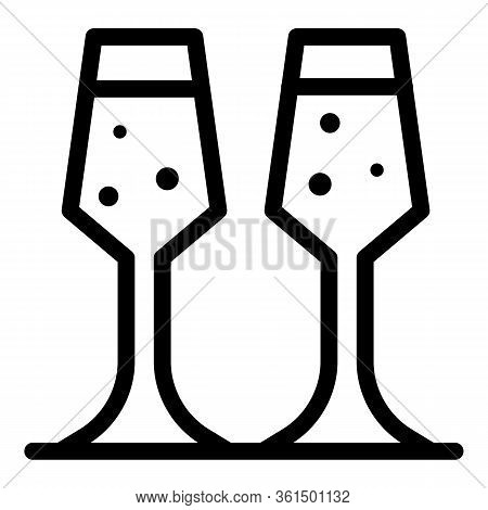 Two Flute Glasses Icon. Outline Two Flute Glasses Vector Icon For Web Design Isolated On White Backg