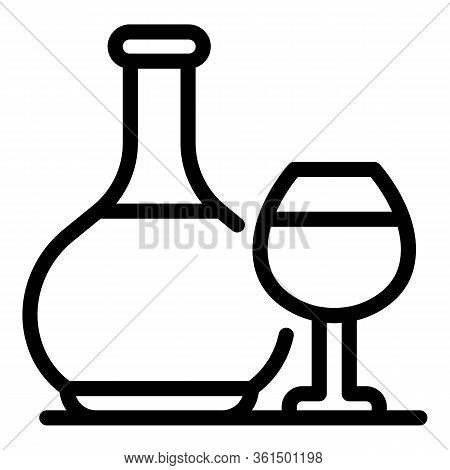 Brandy Bottle And Glass Icon. Outline Brandy Bottle And Glass Vector Icon For Web Design Isolated On