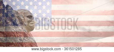 Coronavirus Covid 19 America Concept, George Washington Sculpture With Medical Mask And American Fla