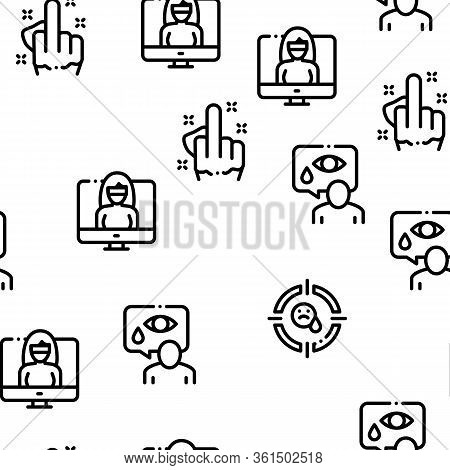 Bullying Aggression Seamless Pattern Vector Thin Line. Illustrations